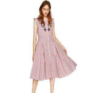 COPY - Zara Embroidered Striped Shirt Dress Size